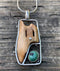 Walrus Ivory Artifact Pendant with Turquoise