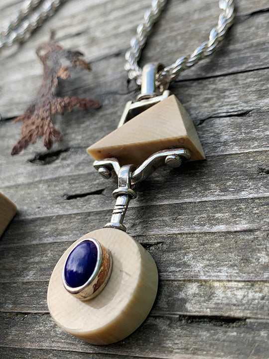 Mammoth Ivory and Lapis Pendant