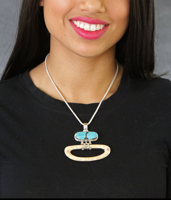 Walrus Ivory Pendant with Turquoise - Open Circle