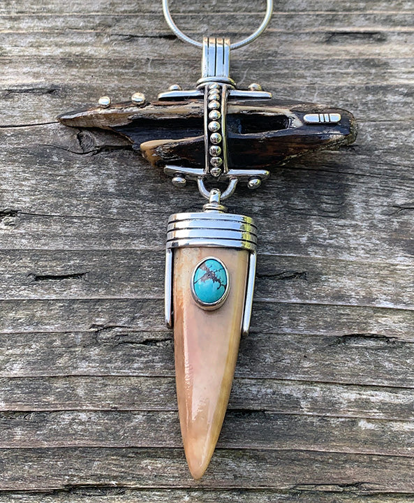 Walrus Artifact Ivory Pendant with Turquoise