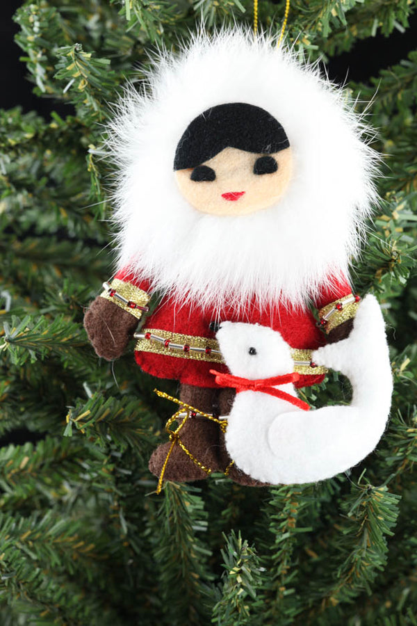 Eskimo Child with Seal Ornament