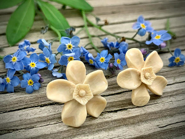 Mammoth Ivory Forget-Me-Not Earrings