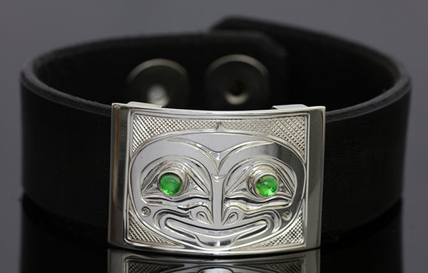 Frog Silver-Leather Bracelet - Small