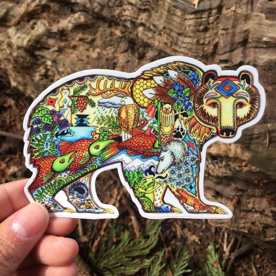 Grizzly Bear Sticker by Sue Coccia