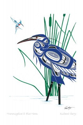 Hummingbird & Blue Heron by Richard Shorty