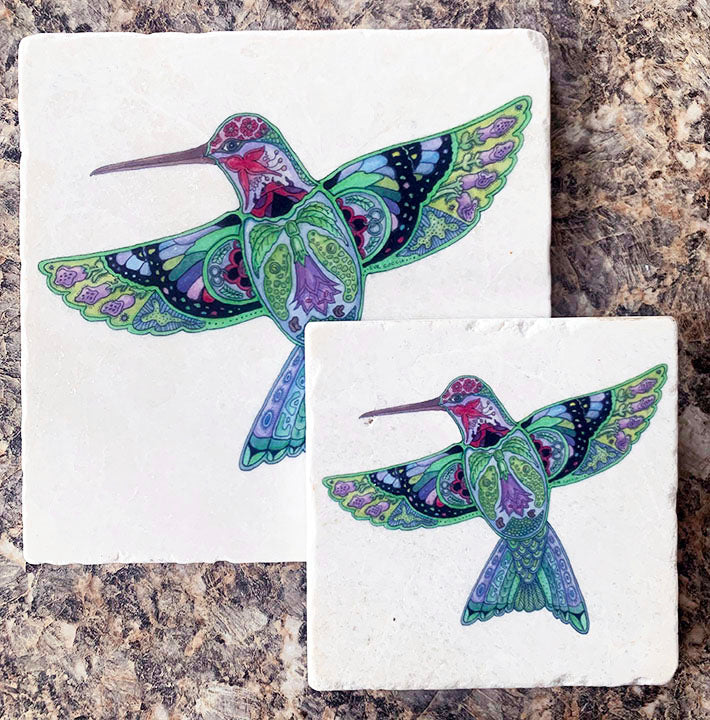 Hummingbird Marble  Trivet or Coaster by Sue Coccia