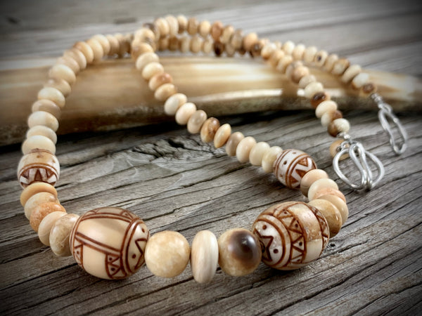Scrimshaw Ivory Necklace 18""
