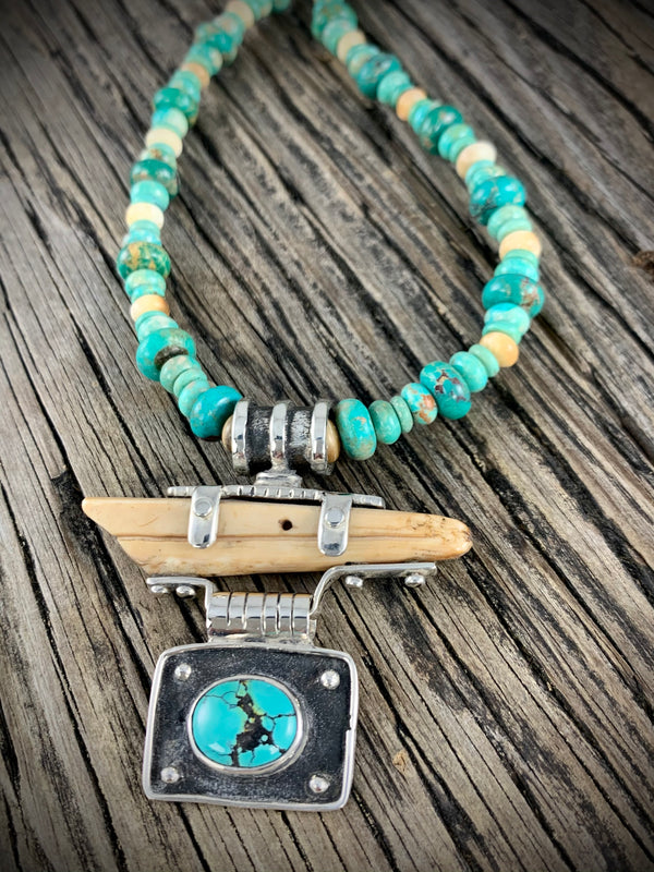 Walrus Ivory and Turquoise Necklace 18""