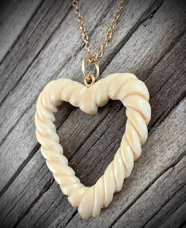 Woolly Mammoth Ivory Open Rope Heart Pendant