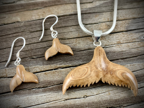 Whale Tail Pendant / Earring Set