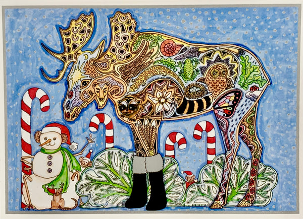 Moose Holiday Card by Sue Coccia