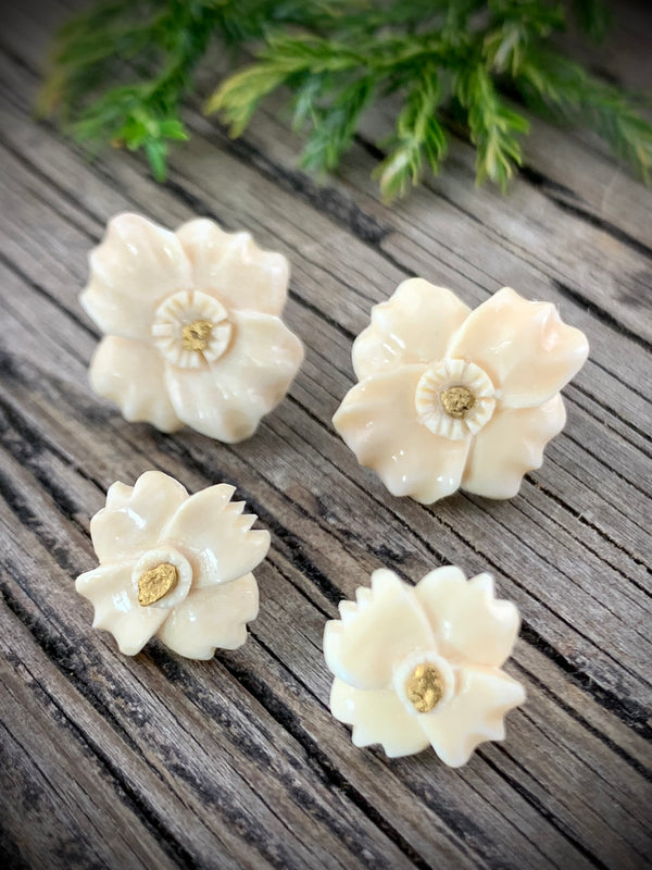 Ivory Sitka Rose & Gold Nugget Earrings