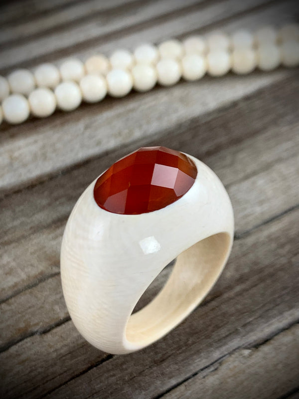 Ivory Ring with Carnelian