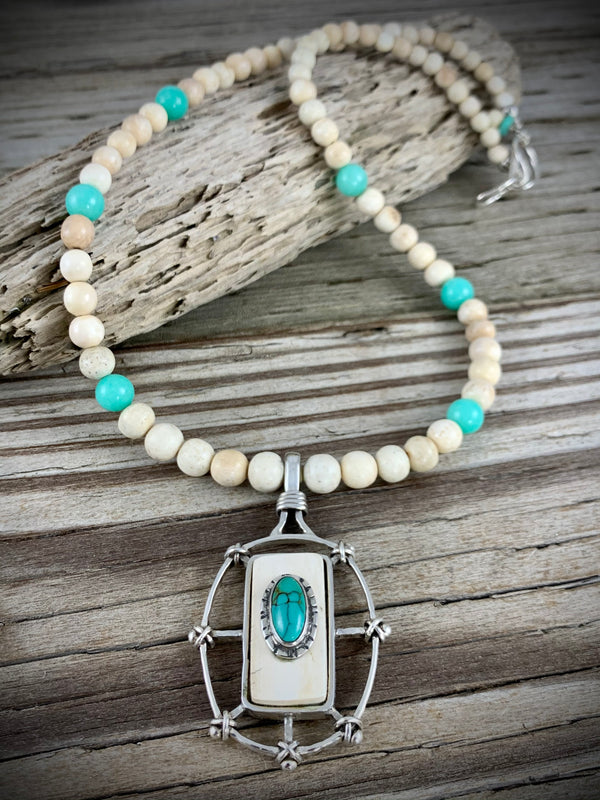 Mammoth Ivory with Larimar Necklace - 20""