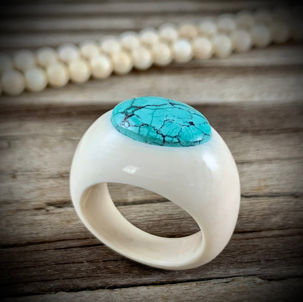 Ivory Ring with Turquoise