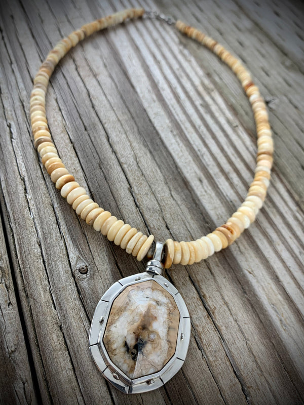 Faceted Walrus Ivory Necklace