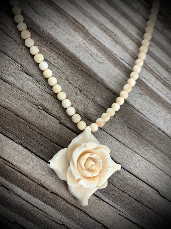 24mm Square Ivory Rose Necklace