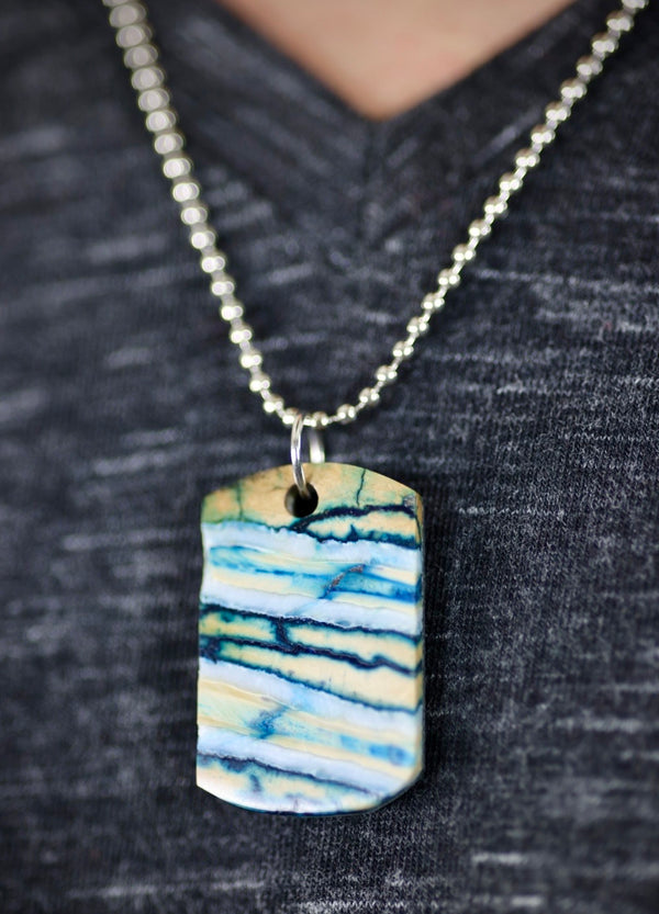 Small Mammoth Tooth Dog Tag - Blue