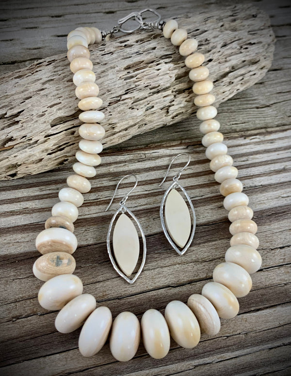 10-20mm Graduated Mammoth Ivory Necklace - 17""
