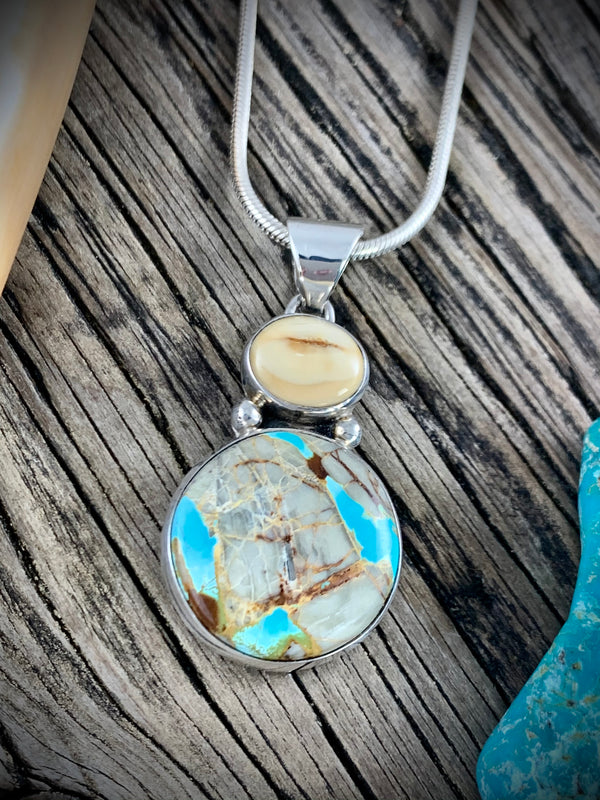 Walrus Ivory with Boulder Turquoise Pendant