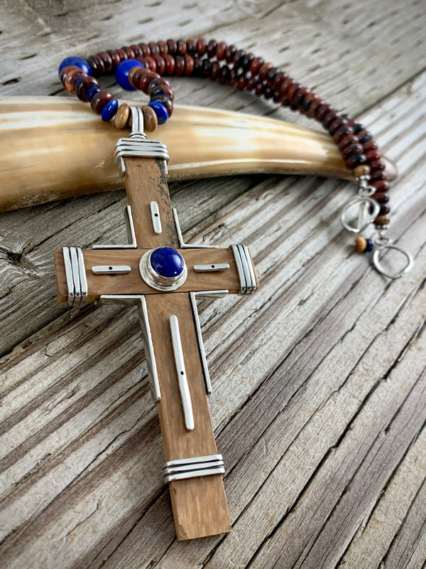 Mammoth Ivory Lapis Cross Necklace
