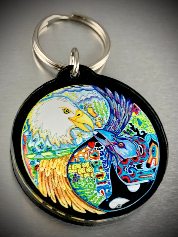 Eagle & Raven (Lovebirds) Key Chain