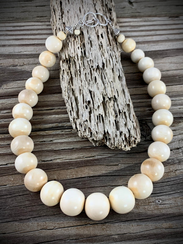 12-18mm Graduated Mammoth Ivory Necklace - 18""