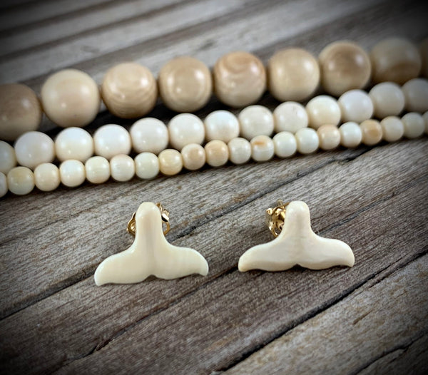 Mammoth Ivory Earrings - Whale Tail