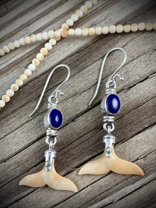 Walrus Ivory Whale Tail Earrings w/ Lapis