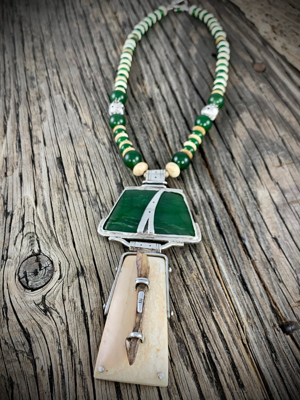 Ivory Artifact w/ Jade Necklace