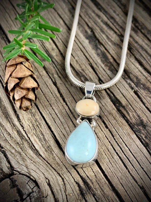 Walrus Ivory with Larimar Pendant