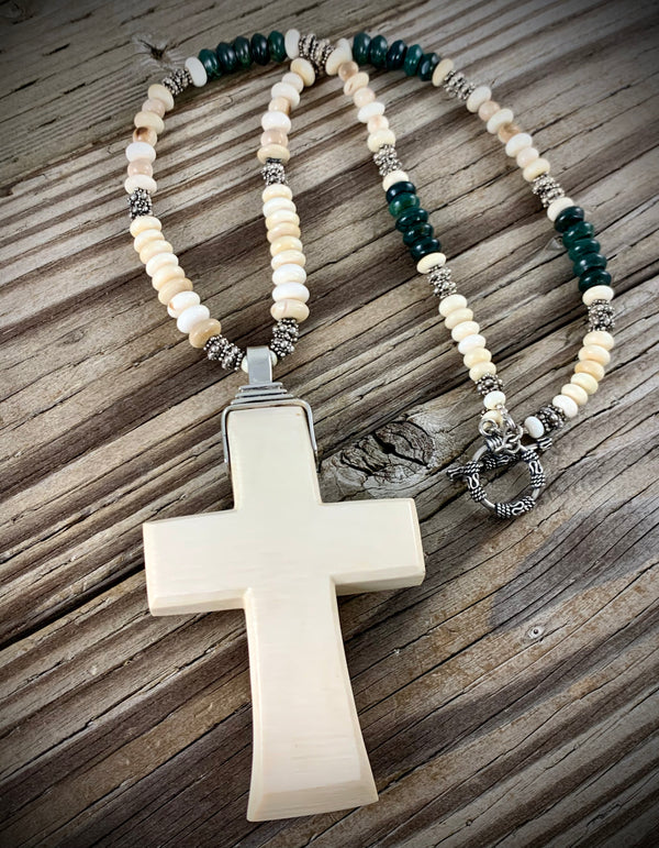 Mammoth Ivory Cross Necklace