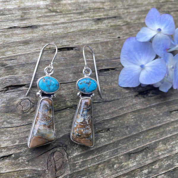 Mammoth Tooth Earrings w/ Turquoise