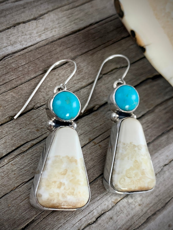 Walrus Ivory Earrings w/ Turquoise