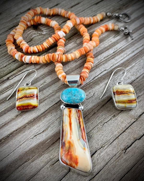 Mammoth Tooth and Turquoise Set
