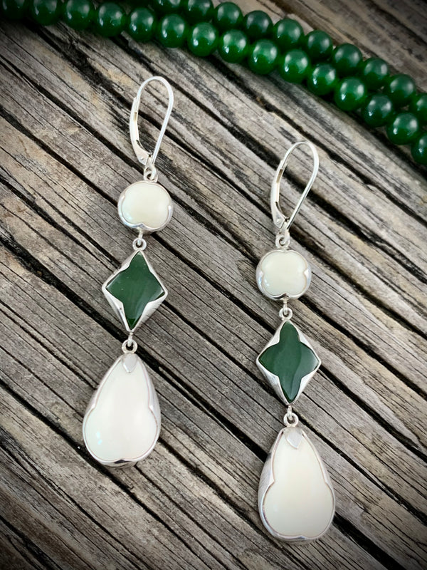 Ivory & Jade Earrings