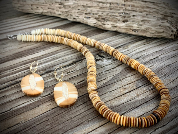 Flat Ivory Bead Necklace - 17""