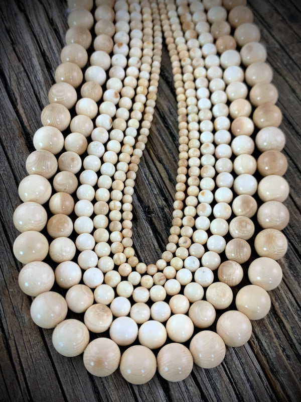 8MM Woolly Mammoth Ivory Bead Necklace