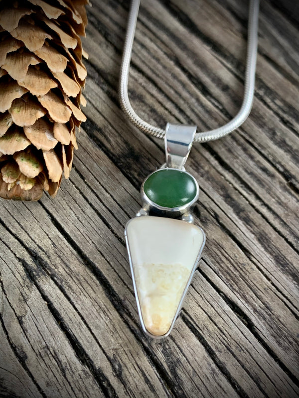 Walrus Ivory with Jade Pendant