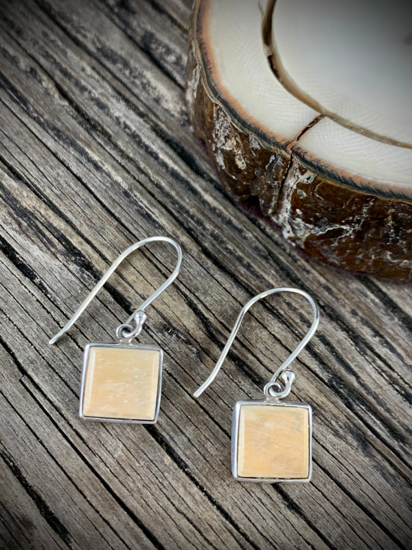 Mammoth Ivory Square Earrings