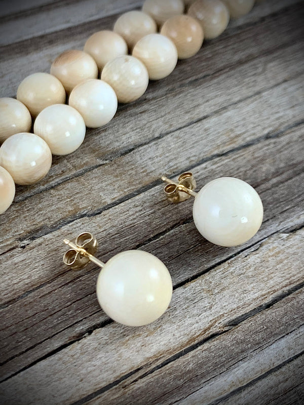 Ivory Stud Earrings 14 kt Gold