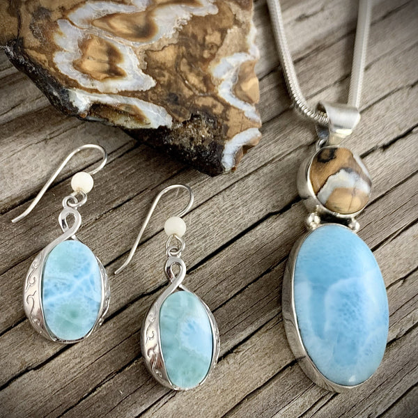 Mammoth Tooth and Larimar Set