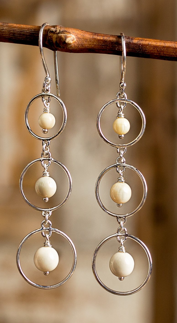 Ivory and Round Sterling Silver Earrings