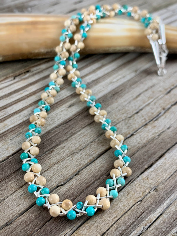 Ivory & Turquoise Twist Necklace