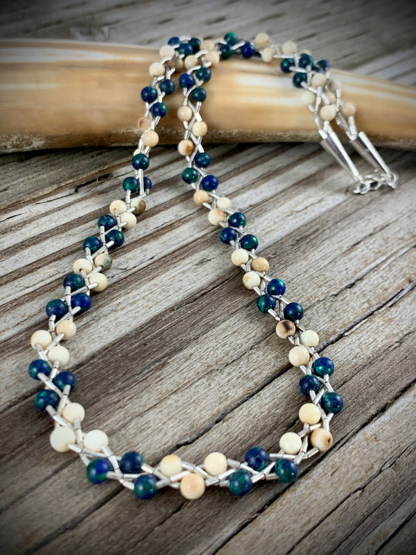 Ivory & Azurite Malachite Twist Necklace