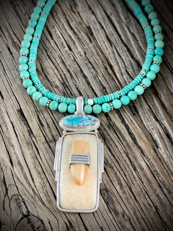 Turquoise Necklace with Ivory Pendant - 18""