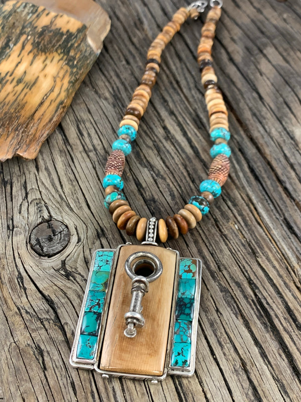 Mammoth Ivory and Turquoise Necklace 18""
