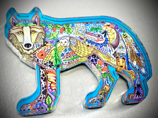 Wolf Standing Magnet by Sue Coccia