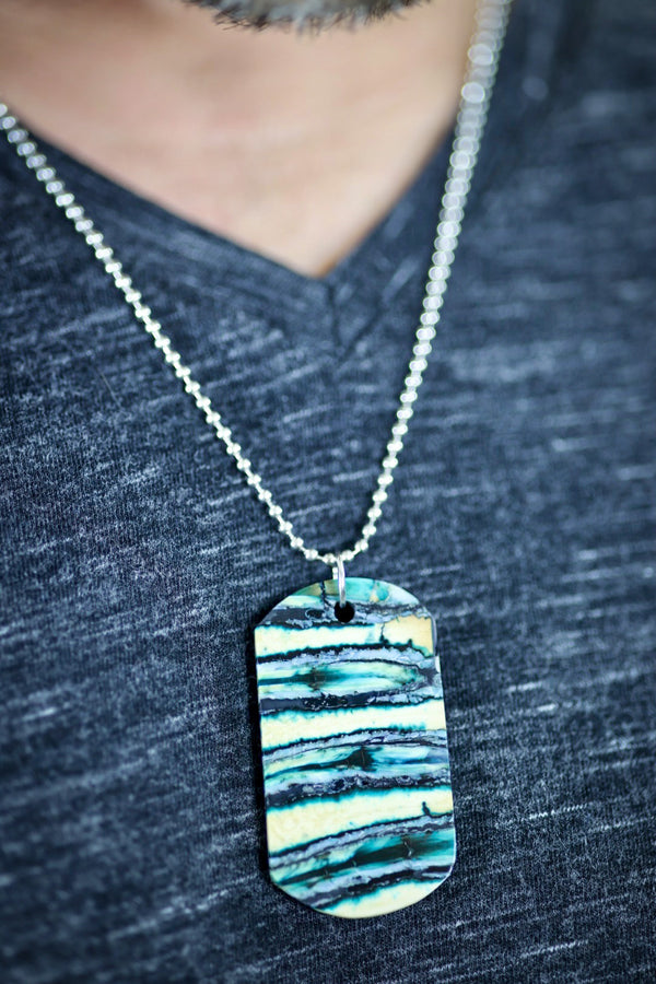 Mammoth Tooth Dog Tag - Blue