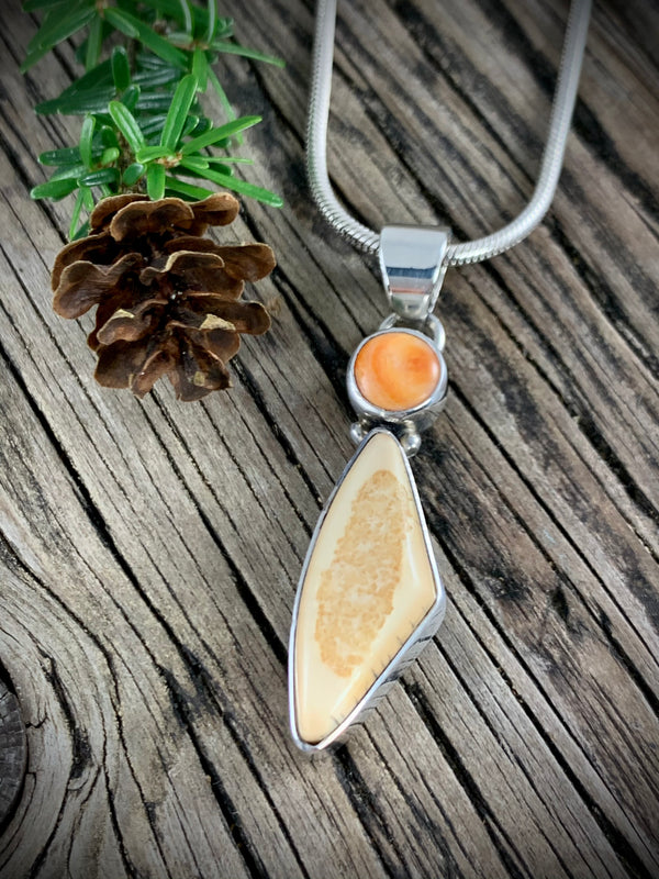 Walrus Ivory with Spiny Oyster Pendant